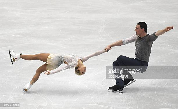 Germany's Aliona Savchenko and Bruno Massot compete during the pairs free skating competition of the European Figure Skating Championship in Ostrava...