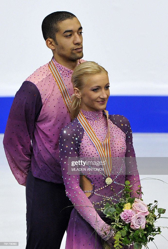 Germany's Aliona Savchenko and Robin Szolkowy pose with their medals after free skating program at the Dom Sportova Arena in Zagreb, 23 January 2008, during the European Figure Skating Championships 2008. Germany's Mari Vartmann and Florian Just won ahead of Russia's Maria Mukhortova and Maxim Trankov, and Russia's Yuko Kawaguchi and Alexander Smirnov.