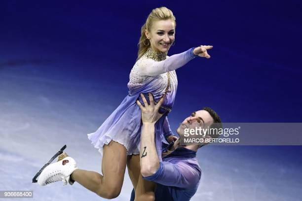 Germany's Aljona Savchenko and Bruno Massot perform on March 22 2018 during the Pairs Free Skate at the Milano World Figure Skating Championship 2018...