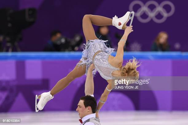 TOPSHOT Germany's Aljona Savchenko and Germany's Bruno Massot compete in the pair skating short program of the figure skating event during the...
