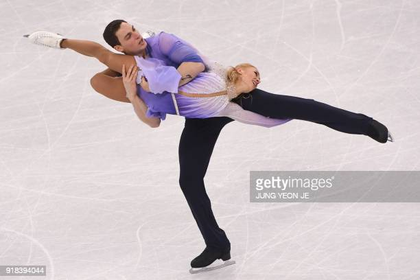 TOPSHOT Germany's Aljona Savchenko and Germany's Bruno Massot compete in the pair skating free skating of the figure skating event during the...