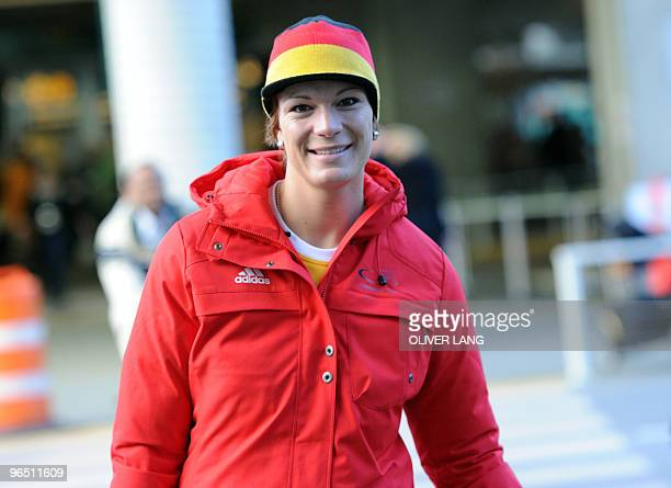 Germany's alpine skier Maria Riesch arrives at Vancouver Airport on February 8, 2010 for the Vancouver 2010 Winter Olympics. AFP PHOTO DDP / OLIVER...