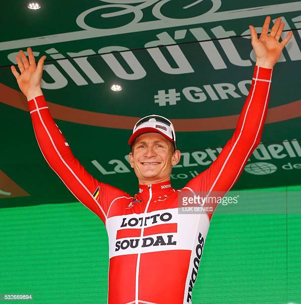 Germany's Andre Greipel of team Lotto Soudal celebrates on the podium after winning the 12th stage of the 99th Giro d'Italia Tour of Italy from Noale...