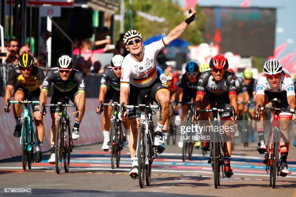 Germany's Andre Greipel of team LottoSoudal celebrates as he crosses the finish line to win the second stage of the 100th Giro d'Italia Tour of Italy...