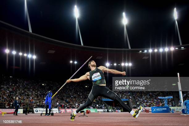 TOPSHOT Germany's Andreas Hofmann competes in the Men's javelin throw contest of the IAAF Diamond League athletics meeting Weltklasse on August 29...