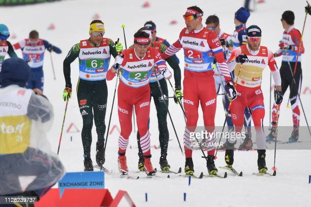 Germany's Andreas Katz Russia's Alexander Bessmertnykh Russia's Andrey Larkov Norway's Martin Johnsrud Sundby compete in the Men's cross country...