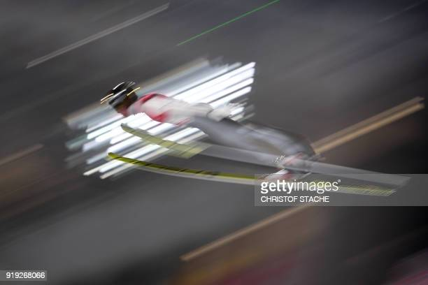 Germany's Andreas Wellinger competes in the men's large hill individual ski jumping event during the Pyeongchang 2018 Winter Olympic Games on...