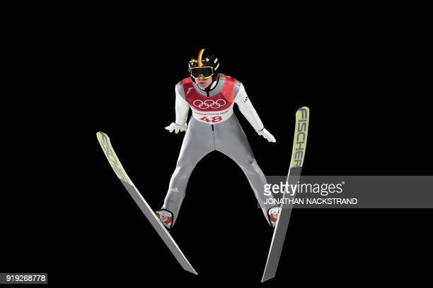 TOPSHOT Germany's Andreas Wellinger competes in the men's large hill individual ski jumping event during the Pyeongchang 2018 Winter Olympic Games on...