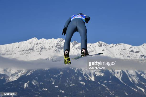 Germanys Andreas Wellinger soars in the air during his trial jump for the Ski Jumping event at the FIS Nordic World Ski Championships at...