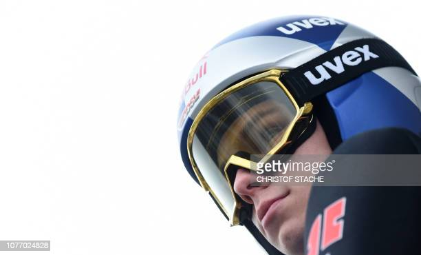 Germany's Andreas Wellinger waits for his trial jump at the third stage of the FourHills Ski Jumping tournament in Innsbruck Austria on January 4...