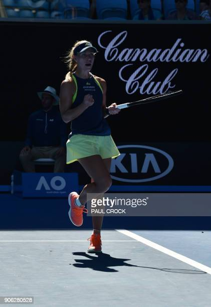 Germany's Angelique Kerber celebrates beating Croatia's Donna Vekic in their women's singles second round match on day four of the Australian Open...