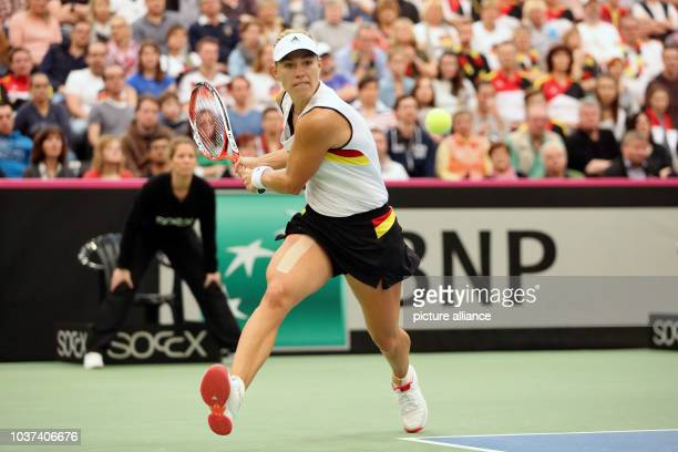 Germany's Angelique Kerber in action against Switzerland's Belinda Bencic at the Fed Cup tennis quarterfinal between Germany and Switzerland in...
