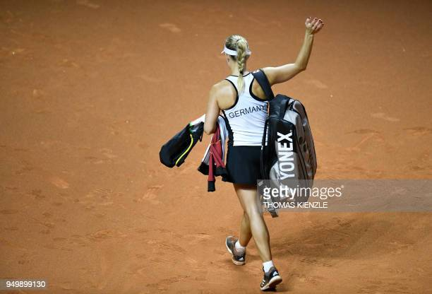 Germany's Angelique Kerber leaves the court after she lost against Czech's Petra Kvitova in their match of the tennis FedCup World Group semifinal...