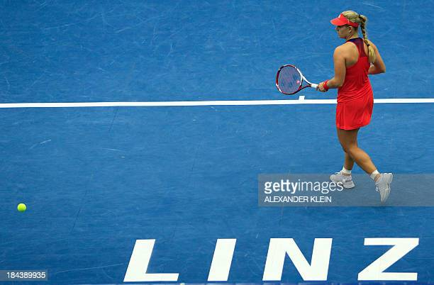 Germany's Angelique Kerber plays against Serbia's Ana Ivanovic during their final match of the WTA tennis tournament in Linz Austria on October 13...