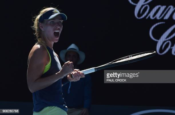 Germany's Angelique Kerber REACTS AFTER BEATING Croatia's Donna Vekic IN their women's singles second round match on day four of the Australian Open...