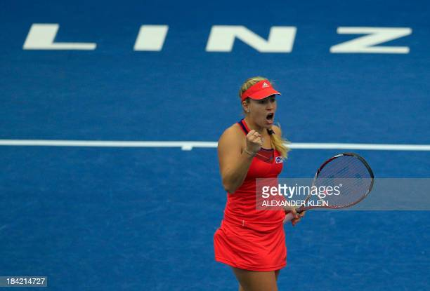 Germany's Angelique Kerber reacts during her match against Spain's Carla Suarez Navarro during their semi final match as part of the Generali Ladies...