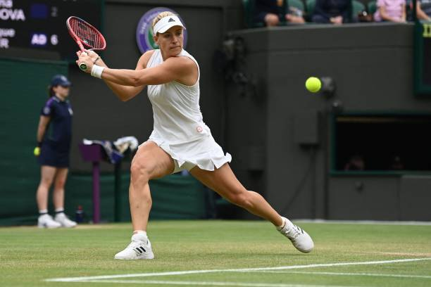 Germany's Angelique Kerber returns against Czech Republic's Karolina Muchova during their women's quarter-final tennis match on the eighth day of the...
