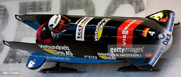 Germany's Anja Schneiderheinze and Stephanie Schneider negotiate a bend during the women's Bob event of the Bob and Skeleton World Cup in Winterberg...