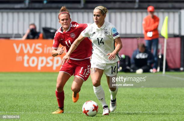Germany's Anna Blaesse and Denmark's Katrine Veje in action during the UEFA Women's EURO quarterfinals soccer match between Germany and Denmark at...