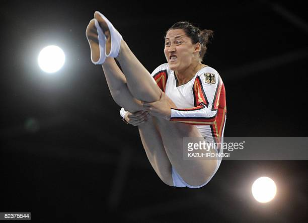Germany's Anna Dogonadze performs during the women's qualification round of the trampoline gymnastics event at the Beijing 2008 Olympic Games in...