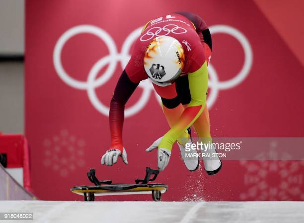 TOPSHOT Germany's Anna Fernstaedt starts her training session for the women's skeleton during the Pyeongchang 2018 Winter Olympic Games at the...