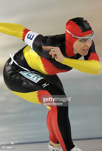 Germany's Anna FriesingerPostma competes in the Ladies' team pursuit speedskating semifinals at the Richmond Olympic Oval in Richmond during the XXI...