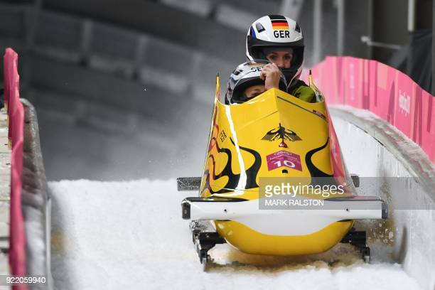 Germany's Anna Koehler and Germany's Erline Nolte compete in the women's bobsleigh heat 4 final run during the Pyeongchang 2018 Winter Olympic Games...