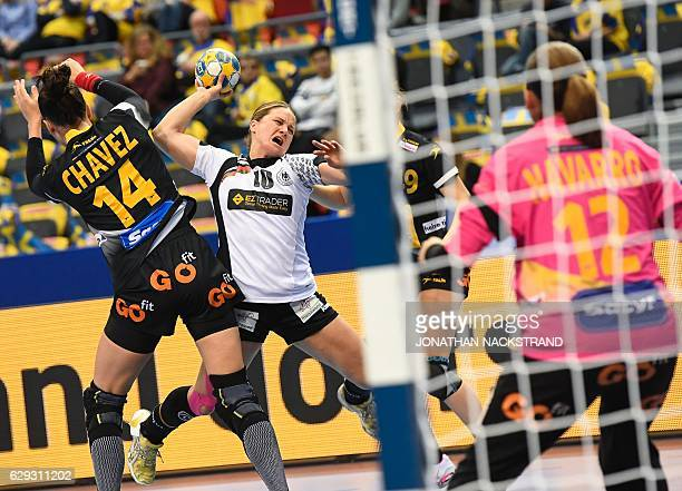 Germany's Anna Loerper prepares to throw the ball during the Women's European Handball Championship Group I match between Spain and Germany in...