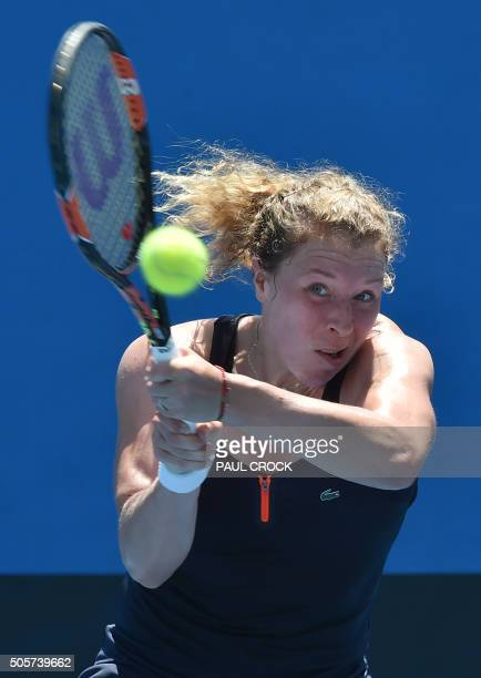 Germany's AnnaLena Friedsam plays a backhand return during her women's singles match against China's Wang Qiang on day three of the 2016 Australian...