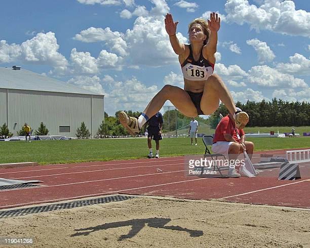 Germany's Annelie Schrader finished second in the long jump with a jump of 567 meters at the Nike Combined Events Challenge at the RV Christian Track...
