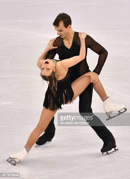 Germany's Annika Hocke and Germany's Ruben Blommaert compete in the pair skating short program of the figure skating event during the Pyeongchang...