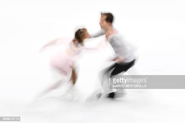 Germany's Annika Hocke and Ruben Blommaert perform during the Pairs Free Skate program at the Milano World League Figure Skating Championship 2018 in...