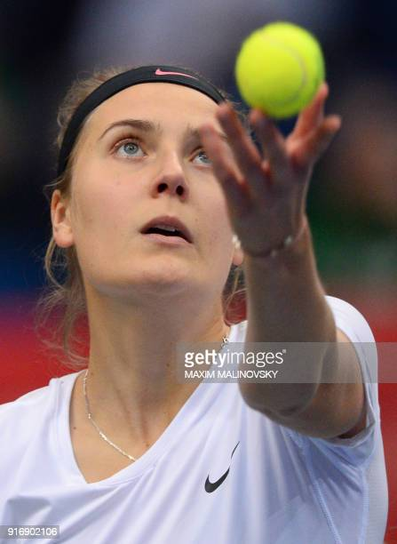 Germany's Antonia Lottner serves to Belarus' Aryna Sabalenka during the Fed Cup tennis world group first round match between Belarus and Germany in...
