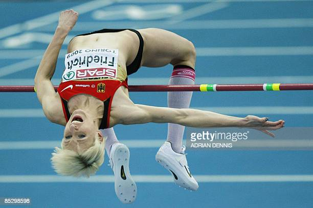 Germany�s Ariane Friedrich performs to win the Women's High Jump final of the European Athletics Indoor Championships on March 8 2009 in Turin
