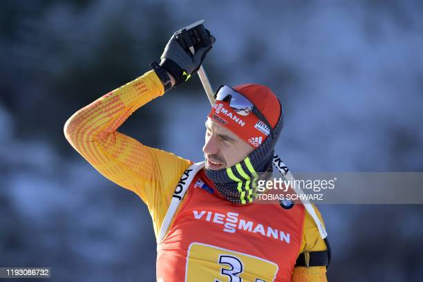 Germany's Arnd Peiffer attends the zeroing for the men's 4x75 km relay at the Biathlon World Cup in Oberhof on January 11 2020