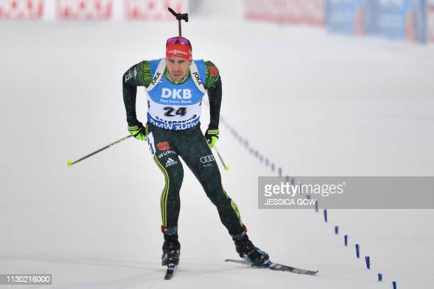 Germany's Arnd Peiffer competes during the men's 20km individual event at the IBU Biathlon World Championships in Ostersund Sweden on March 13 2019 /...