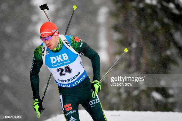 Germany's Arnd Peiffer competes during the men's 20km individual event at the IBU Biathlon World Championships in Ostersund, Sweden, on March 13,...