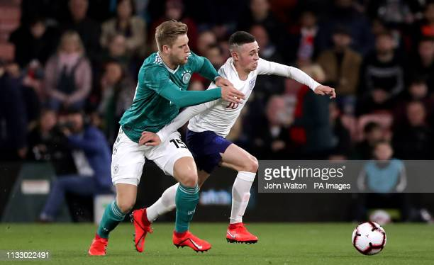 Germany's Arne Maier and England's Phil Foden during the International Friendly match at the Vitality Stadium Bournemouth