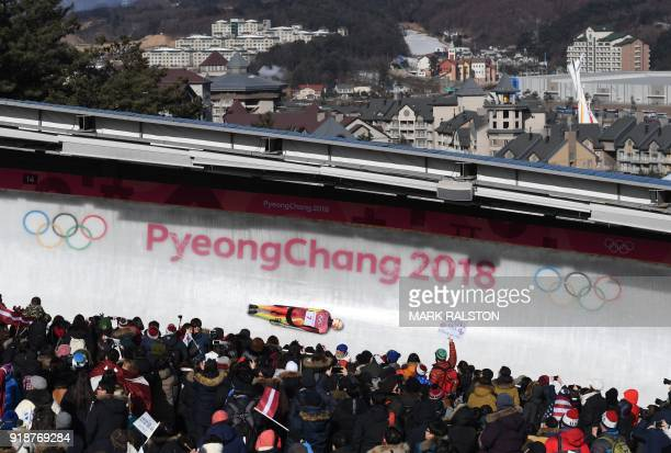 TOPSHOT Germany's Axel Jungk competes in the mens's skeleton heat 3 run during the Pyeongchang 2018 Winter Olympic Games at the Olympic Sliding...