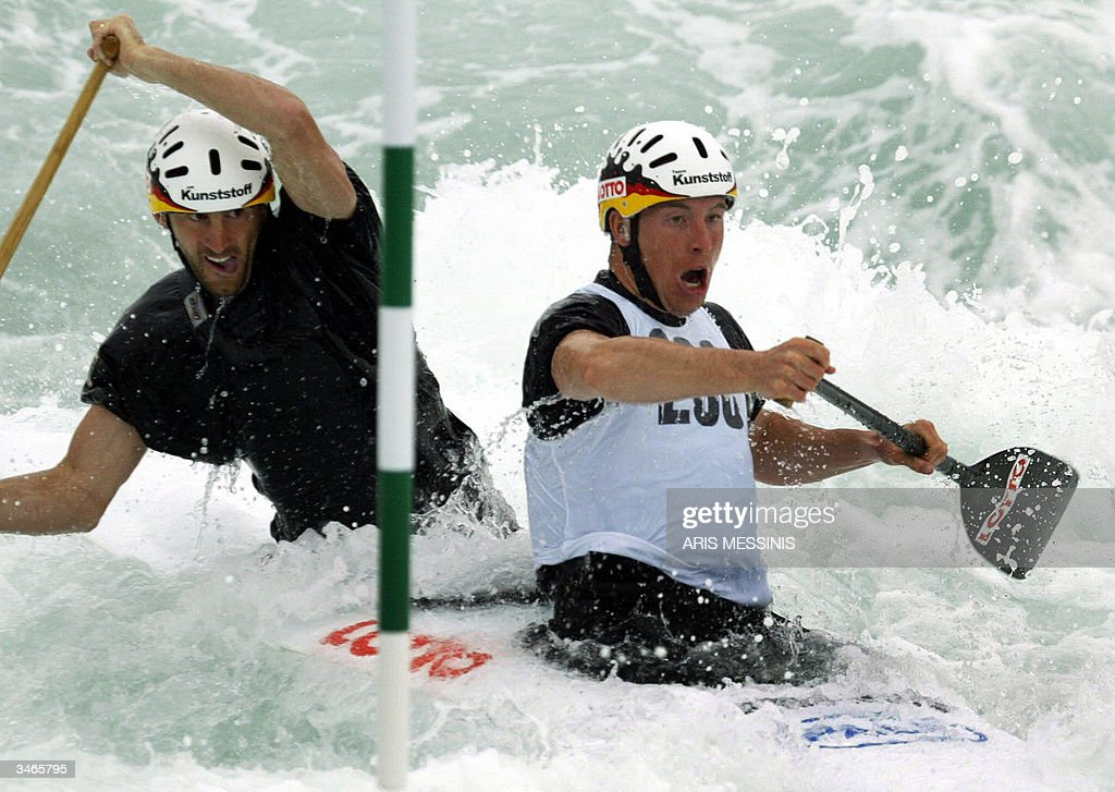 Germanys Bahmann And Senft Compete On Men C2 Canoe Double During The Athens Slalom Racing World