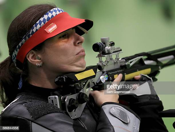 Germany's Barbara Engleder competes in the Women's 10m Air Rifle shooting qualifications on Day 1 of the 2016 Rio Olympic Games at the Olympic...