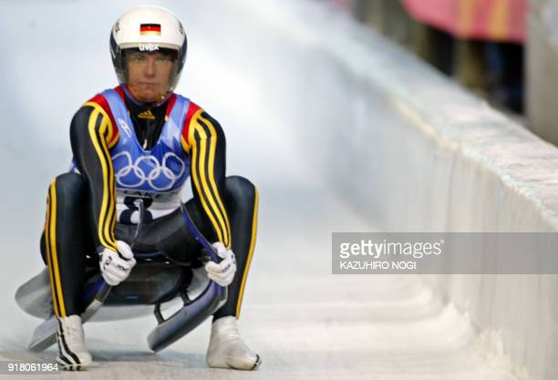 Germany's Barbara Niedernhuber speeds through the ice channel during the women's singles luge event Run 1 of the Salt Lake 2002 Olympic Winter Games...