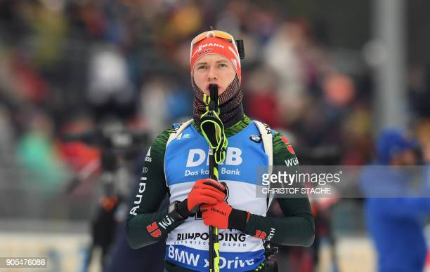 Germany's Benedikt Doll arrives for the warmup shooting prior the men's 15 kilometer mass start competition at the Biathlon World Cup on January 14...