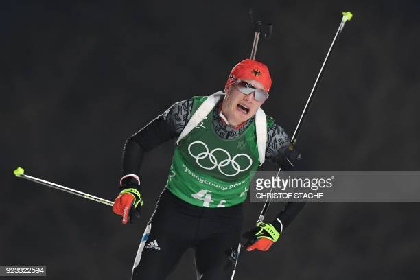 TOPSHOT Germany's Benedikt Doll competes in the men's 4x75km biathlon relay event during the Pyeongchang 2018 Winter Olympic Games on February 23 in...