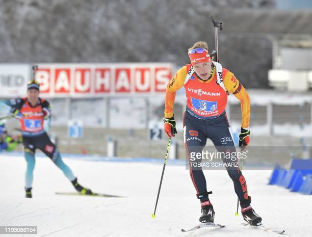 Germany's Benedikt Doll leaves the shooting range during the men's 4x75 km relay at the Biathlon World Cup in Oberhof on January 11 2020