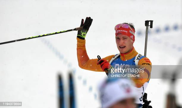 Germany's Benedikt Doll reacts after the men's 4x75km relay event of the IBU Biathlon World Cup in Ruhpolding southern Germany on January 18 2020
