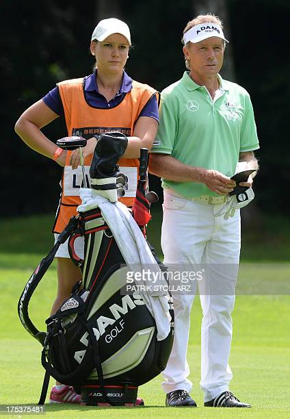 Germany´s Bernhard Langer and daughter Christina react as he competes at the second round of the Berenberg Bank Masters Cologne European Senior Tour...