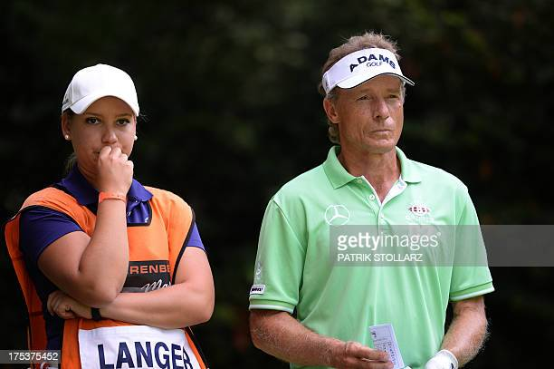 Germany´s Bernhard Langer and daughter Christina react during the second round of the Berenberg Bank Masters Cologne European Senior Tour at the Golf...