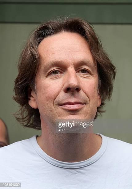 Germany's bestknown television weatherman Swiss Joerg Kachelmann leaves the prison in Mannheim southwestern Germany after he was released on bail on...