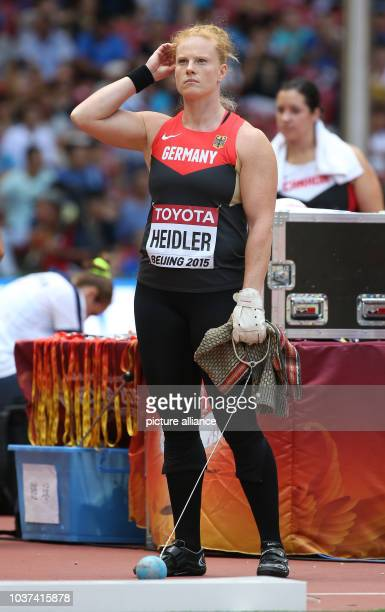 Germany's Betty Heidler prepares for her attempt in the Women's Hammer Throw Qualification at the 15th International Association of Athletics...